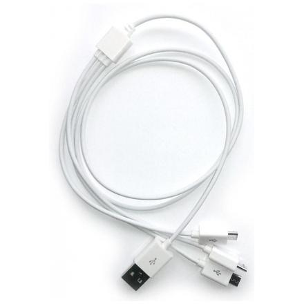 CPA ATCMICROMULTIWH nabíjecí 3x microUSB / 1000mA, bílý 6639