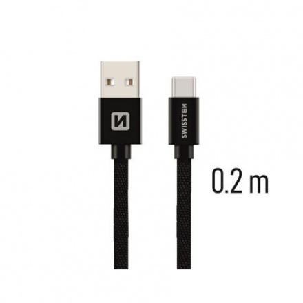 SWISSTEN TEXTILE datový kabel USB - (USB TYP C) 0.2m černá
