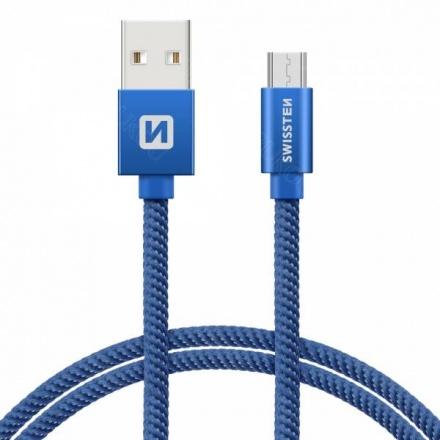 SWISSTEN TEXTILE datový kabel USB - (USB TYP C) 0.2m modrá