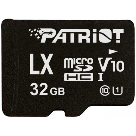 32GB microSDHC Patriot V10, class 10 U1 až 80MB/s + adapter, PSF32GLX1MCH