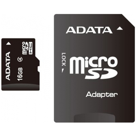 ADATA 16GB MicroSDHC Card with Adaptor Class 4, AUSDH16GCL4-RA1