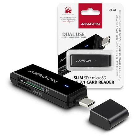 AXAGON CRE-S2C, USB 3.1 Type-C - externí SLIM čtečka 2-slot SD/microSD, podpora UHS-I, CRE-S2C