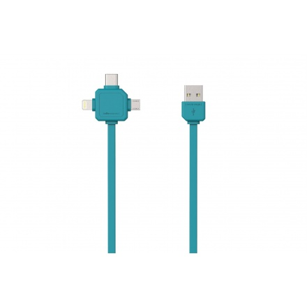 PowerCube USBcable USB-C CABLE, Blue, multi-vidlice (MicroUSB, Apple Lithning, USB-C), kabel  1,5m, 426509