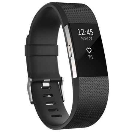 Fitbit Charge 2 Black Silver - Large, FB407SBKL-EU
