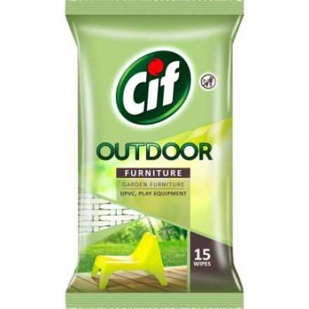 Cif Outdoor Wipes, ubrousky na zahradní nábytek, 15 ks