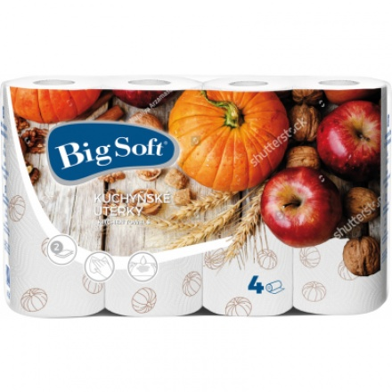 Big Soft Podzim 2vrstvé kuchyňské utěrky, role 50 útržků, 4 role