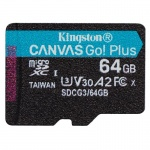 64GB microSDXC Kingston Canvas Go! Plus A2 U3 V30 170MB/s bez adapteru, SDCG3/64GBSP