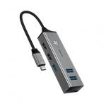Baseus Adaptér Cube Typ-C USB3.0 - 3 USB2.0 - 2 HUB (CAHUB-D0G) tmavě šedá