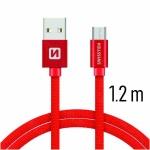 SWISSTEN TEXTILE datový kabel USB - (USB TYP C) 1.2m červená
