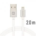 SWISSTEN TEXTILE datový kabel USB - (LIGHTNING) 2m stříbrná 71523303