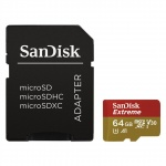 SanDisk Extreme microSDXC 64GB 100MB/s + adaptér, SDSQXAF-064G-GN6AA