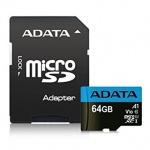 ADATA MicroSDXC 64GB UHS-I 85/25MB/s + adapter, AUSDX64GUICL10A1-RA1