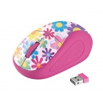 myš TRUST Primo Wireless Mouse - pink flowers, 21481