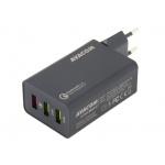 AVACOM HomeMAX 2 síťová nabíječka s Qualcomm Quick Charge 2.0, 3x USB výstup, černá, NASN-QC3X-KK