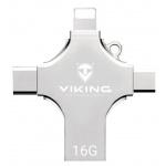 VIKING USB FLASH DISK 16G, 4v1 S KONCOVKOU APPLE LIGHTNING, USB-C, MICRO USB, USB-A, VUF16GBS