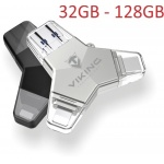 VIKING USB FLASH DISK 3.0 4v1 64GB, S KONCOVKOU APPLE LIGHTNING, USB-C, MICRO USB, USB3.0, stříbrná, VUFII64S