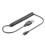 PremiumCord Kabel micro USB 2.0, A-B 1m - kroucený 50cm až 100cm, ku2m1fkr