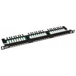 "19"" Patch panel Solarix 24xRJ45 CAT5E UTP černý, SX24HD-5E-UTP-BK"