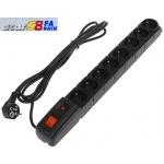 "19"" napáj.panel ACAR S8/3m 8x220V Black+přep.ochr., 502712133"