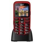 iGET SIMPLE D7 Red, seniorský, Bluetooth, FM rádio, kamera, svítilna, výdrž 15 dní,microSD, stojánek, D7 Red