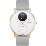 Nokia Steel HR (36mm) Rose Gold w/ Grey Silicone wristband, 36white-RG-S-Grey