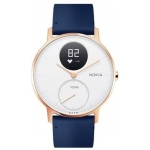 Nokia Steel HR (36mm) Rose Gold w/ Blue Leather + Grey Silicone wristband, 36white-RG-L-Blue