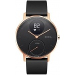 Nokia Steel HR (36mm) Rose Gold w/ Black Silicone wristband, 36black-RG-S-Black
