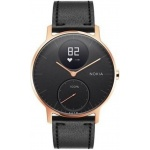 Nokia Steel HR (36mm) Rose Gold w/ Black Leather + Black Silicone wristband, 36black-RG-L-Black