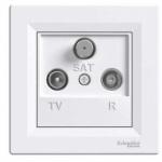 Asfora - zásuvka TV-R-SAT, koncová - 1 dB - bílá, EPH3500121