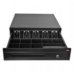 Virtuos Pokladní zásuvka C425C - s kabelem, kovové držáky, 9-24V, černá, EKN0112