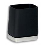 Držák kartáčků a pasty sklo Metalia 4 černá-chrom 6406,5