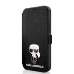 KLFLBKP12LIKMSBK Karl Lagerfeld Saffiano Iconic Book Pouzdro pro iPhone 12 Pro Max 6.7 Black, 2454155