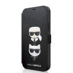 KLFLBKP12LSAKICKCBK Karl Lagerfeld Saffiano K&C Heads Book Pouzdro pro iPhone 12 Pro Max 6.7 Black, 2454152