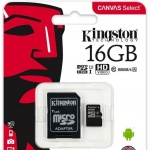 microSDHC 16GB Kingston Class 10 w/a (EU Blister), 2442137