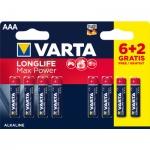 Varta Longlife Max Power AAA mikrotužkové baterie, 8 ks
