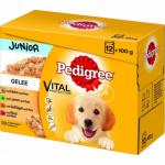 Pedigree Junior Kuřecí a krůtí maso ve šťávě kompletní krmivo pro psy, 12 × 100 g