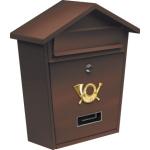Poštovní schránka se stříškou 380x320x105mm hnědá, TO-78582