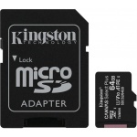 64GB microSDXC Kingston Canvas Select Plus  A1 CL10 100MB/s + adapter, SDCS2/64GB