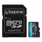 64GB microSDXC Kingston Canvas Go! Plus A2 U3 V30 170MB/s + adapter, SDCG3/64GB