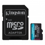 256GB microSDXC Kingston Canvas Go! Plus A2 U3 V30 170MB/s + adapter, SDCG3/256GB